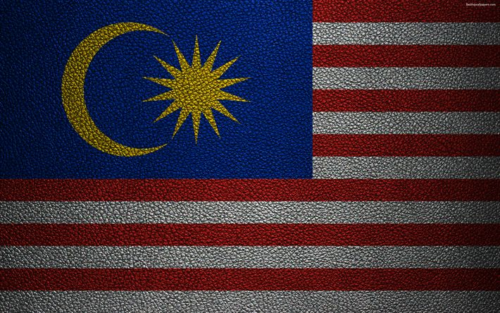 Download wallpapers Flag of Malaysia, 4K, leather texture, Malaysian flag, Asia, world flags, Malaysia