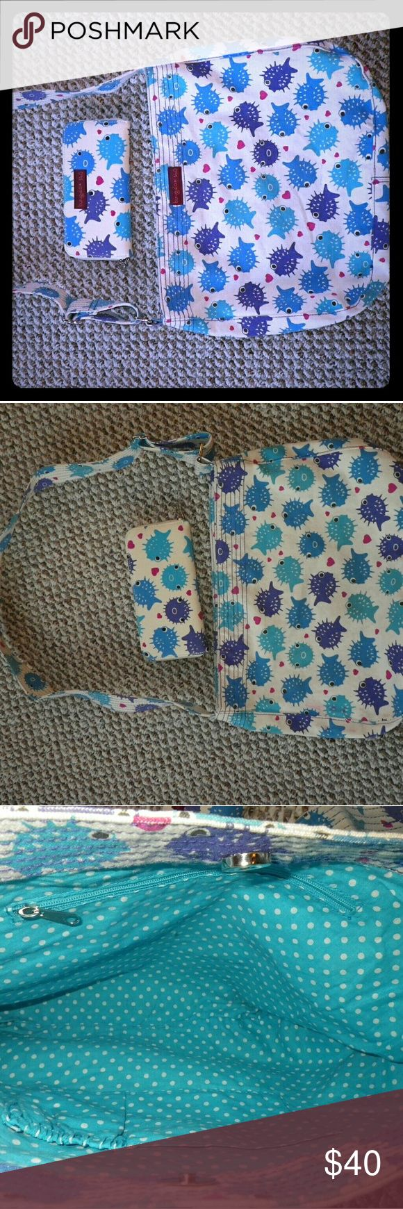 Bungalow 360 Puffer Fish Crossbody **PRICE FIRM** NWOT.  Bungalow 360 Vegan Cotton Canvas Crossbody Messenger Bag & Wallet.  Bright and fun!  Love it but I have too many bags!!!  Selling bag and matching zip-around wallet as a set.  See flaw in pic #4.  It was this way when I purchased it new a few months ago...I think the dye smeared.  Not that noticable but the bag IS WASHABLE.    **BUNGALOW 360**  **KAVU BAG**  **CROSSBODY BAG**  **MESSENGER BAG** Bungalow 360 Bags Crossbody Bags