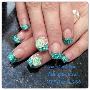 Teal 3d Nails