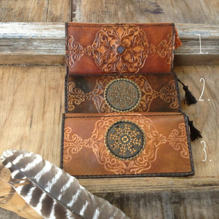 Leather Mandala wallets, handmade