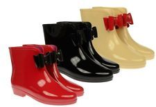 WOMENS LADIES FRONT BOW ANKLE LENGTH SHORT WELLIES/WELLINGTONS RAIN BOOTS 3-8sPu