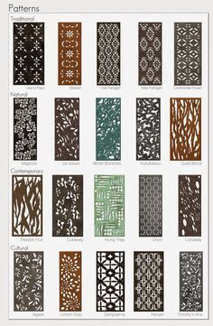 20 Parasoleil patterns in several finishes for aluminum, copper, wood, & steel