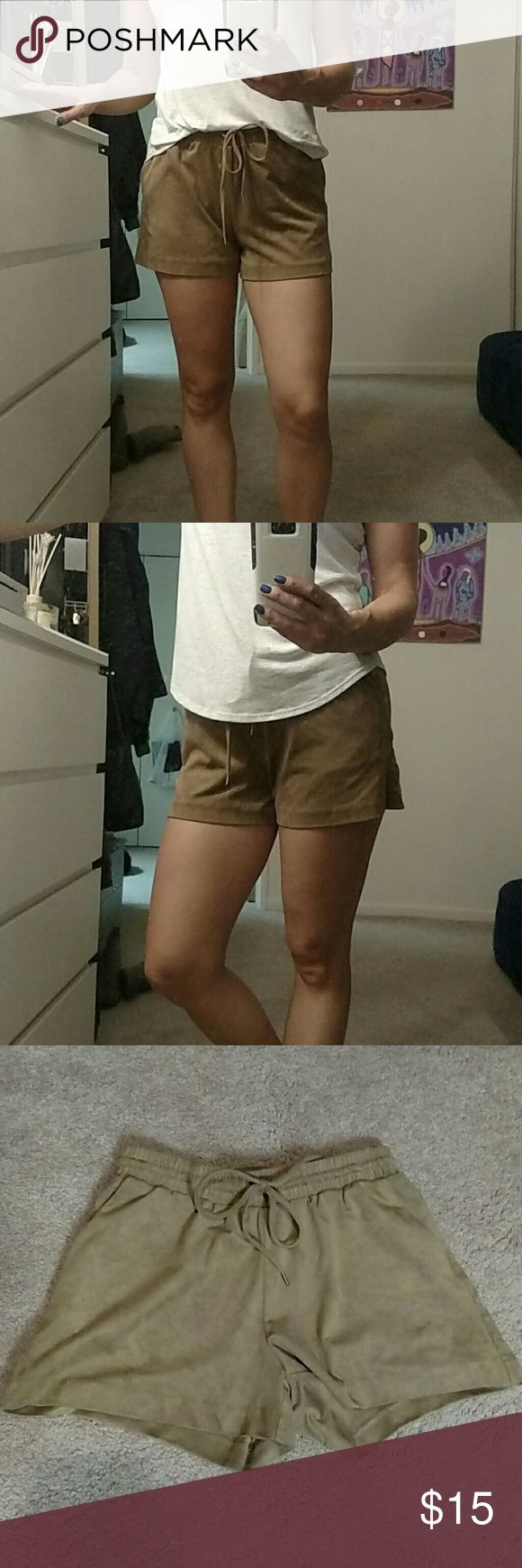 H&M shorts - suede looking Never worn faux suede shorts. Super soft micro-fiber material. Elastic waistband. Like new. I've never worn them out, just trying them on a few times. Can be worn as high waist with a cute crop top or boho style with baggy shirt. Hope they find a home. H&M Shorts