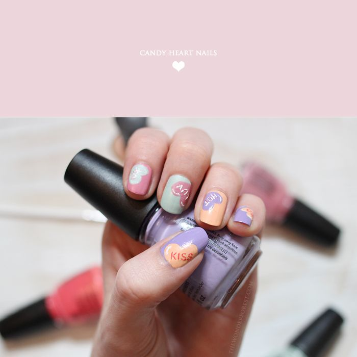 Valentine's Day Nails: Candy Heart Nail Art