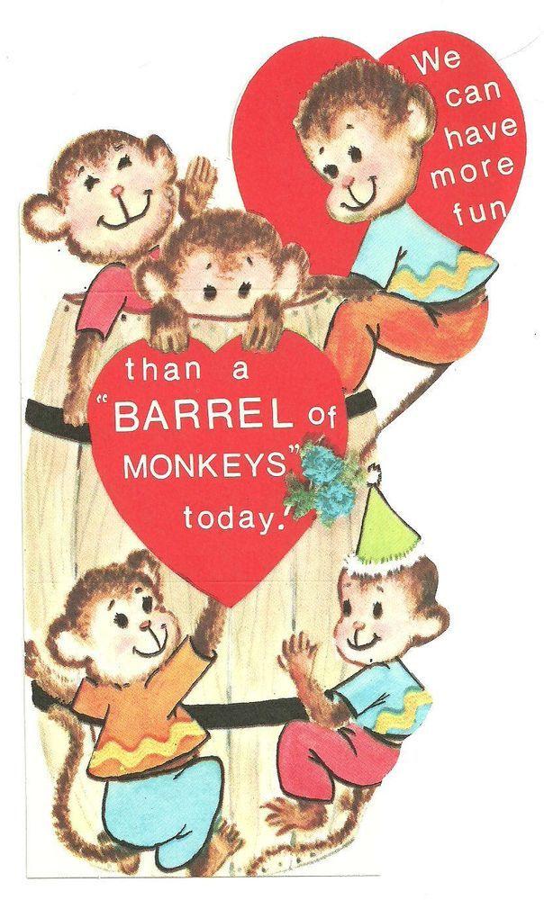 Vintage Valentines Day Card 1950's/60's - Barrel Of Monkeys