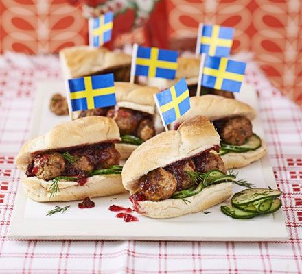 Malmo meatball subs. Serve a sandwich with a difference - these Swedish meatball rolls are flavoured with caraway and served with cucumber, dill and cranberry
