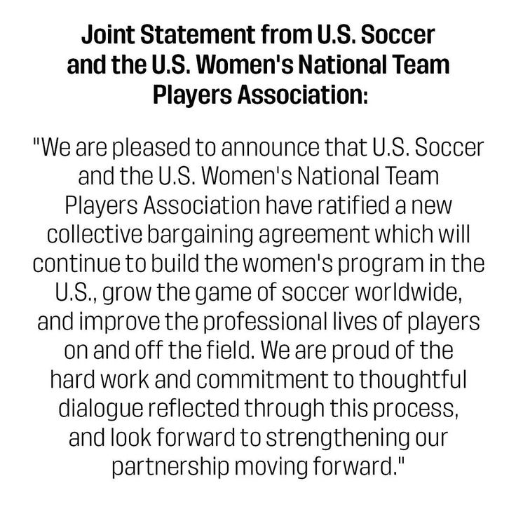 U.S. Soccer and the USWNT Players Association have finalized a new collective bargaining agreement through 2021.