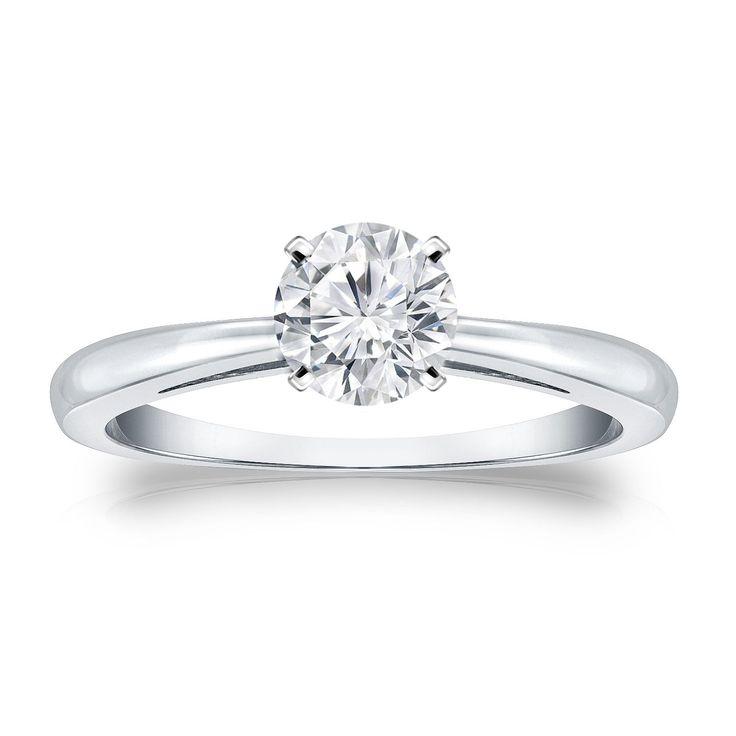Auriya 14k Gold 1/2ct TDW Round-cut Diamond Solitaire Engagement Ring (H-I, VS1-VS2) (White Gold - Size 6), Women's