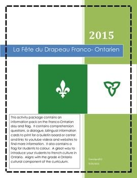 This activity package contains an information pack on the Franco-Ontarian day and flag. It contains comprehension questions, a dialogue, bilingual information cards to print for a bulletin board or center and links to youtube videos and websites to find more information.