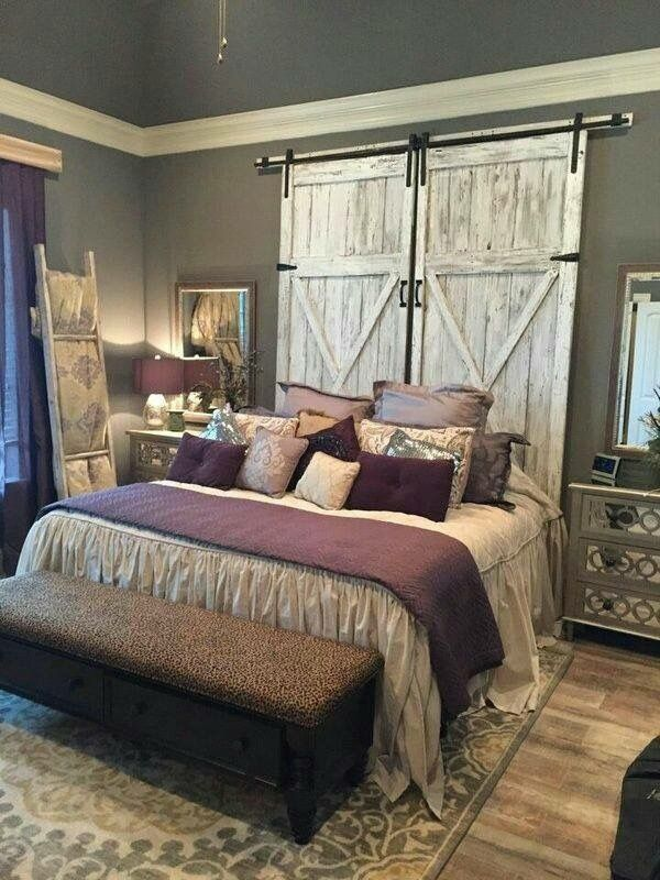 White Distressed Barn door BED Headboard, Purple & Grey Palette