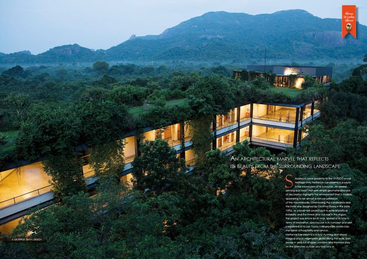 Heritance Kandalama, Sri Lanka. One of Sri Lanka's architectural heritage. Cocotraie Issue 14.