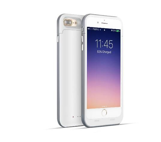 White and silver mobile phone charger case for iphone 7 and 7 plus mobile phones