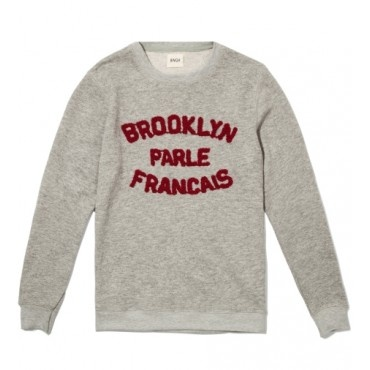 Brooklyn Parle Francais Sweater in Grey and Burgundy from BWGH $179