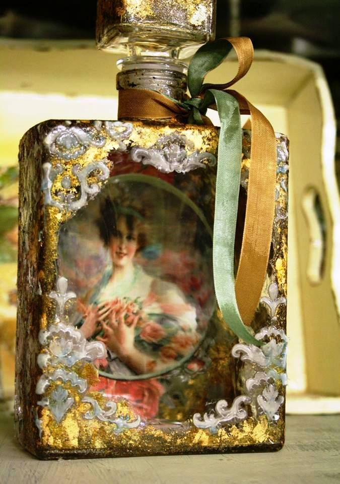 Artisanal royal decoupage bottle with  stencil and gold