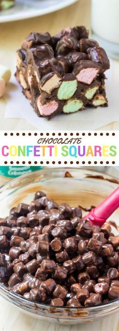 Chocolate confetti squares are a super easy, retro dessert with only 4 ingredients. They're soft and chewy with a delicious hint of peanut butter and sweet, fluffy marshmallow texture.