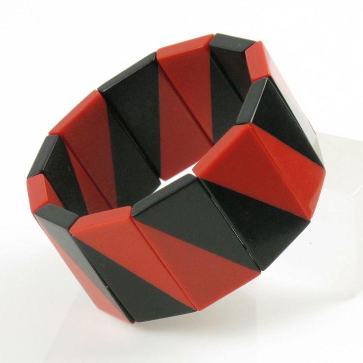 Rare Art Deco Auguste Bonaz French Galalith Bakelite Stretch Bracelet black red #AugusteBonaz #Bangle