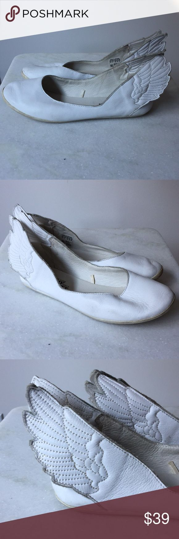 JEREMY SCOTT x ADIDAS Winged Ballerinas Used in Good Condition White Leather  Ballerina Flats Size 6.5 Jeremy Scott x Adidas Shoes Flats & Loafers