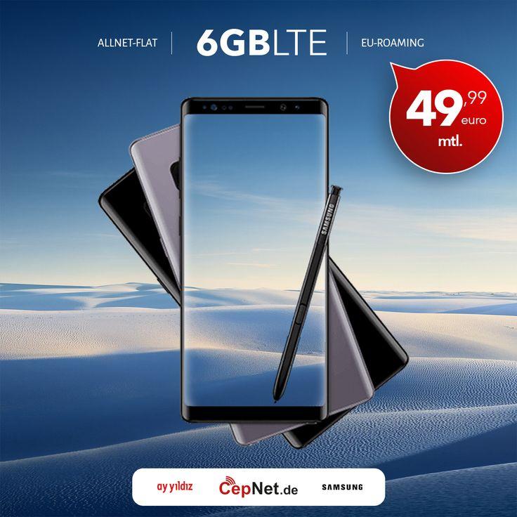 🤙😎 Samsung Galaxy Note 8 64GB mit günstigem ay yildiz Ay Allnet Max HW10 Vertrag  👉👉 https://www.cepnet.de/smartphones/samsung/galaxy-note-8/64gb-midnight-black/ay-yildiz/ay-allnet-max-hw10/?utm_source=cepnet_sosyal&utm_medium=note8&utm_campaign=tekreklam    ✅Telefonie-Flat* in alle dt. Handy-Netze  ✅Telefonie-Flat* ins dt. Festnetz  ✅Telefonie-Flat* ins türkische Festnetz  ✅Internet-Flat* 6 GB mit bis zu 21,6 Mbit/s (danach Drosselung auf 56 kbit/s)  ✅EU Roaming Flat** EU-weit surfen…