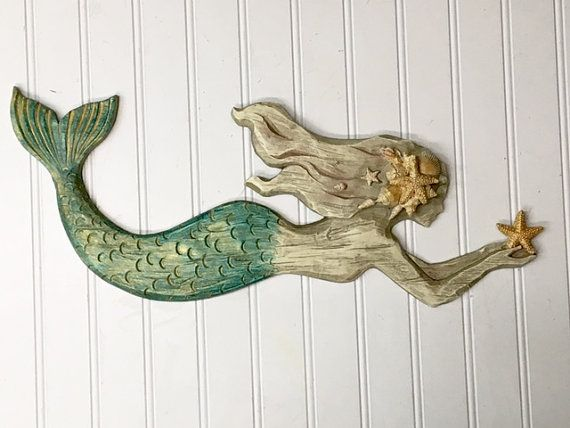 Mermaid Wall Hanging/Beach Decor/Mermaid Wall by TheShabbyStore