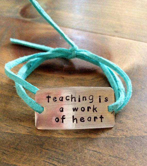 hand stamped teacher's gift, end of year teachers gift bracelet teaching is a by Bstamped, $16.00