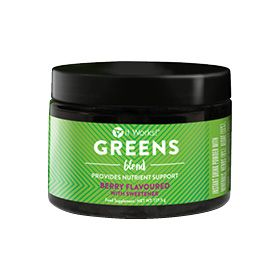 Contains a blend of magnesium (which contributes to normal electrolyte balance) and potassium, which contributes to normal muscle function Combination of 50 herbs and nutrients 33 fruits and veggies Matcha green tea added Soy-Free. Non-GMO. Dairy-Free. Vegan. No artificial colours, flavours or sweeteners. Sweet berry flavour.