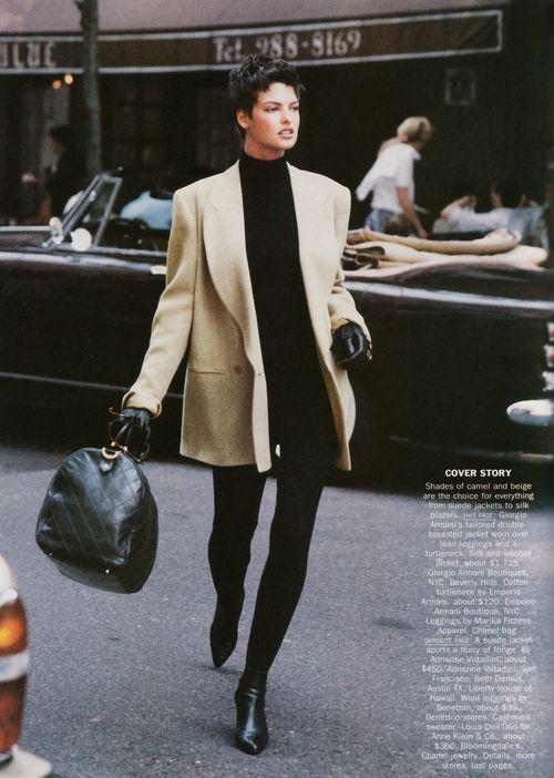 """""""Camel's Back"""", Vogue US, September 1989  Photographer : Peter Lindbergh  Model : Linda Evangelista"""