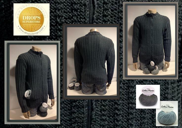 *15206* Weer een mooi resultaat van onze breiclub: een vest voor zoonlief, maar ook haar man krijgt zo'n mooi heerlijk vest gemaakt met cottonmerino van Drops. (patroon eigen idee) http://bloemendalwol.nl/drops/82-drops-cotton-merino.html — bij bloemendalwol.nl.
