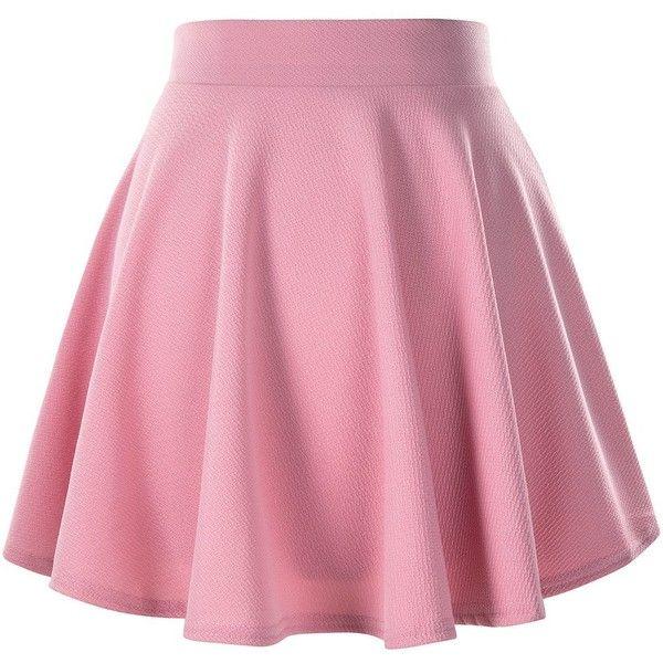 Women's Basic Solid Versatile Stretchy Flared Casual Mini Skater Skirt ($9) ❤ liked on Polyvore featuring skirts, mini skirts, bottoms, circle skirts, flared skirt, pink skater skirt, flare skirts and mini skater skirt
