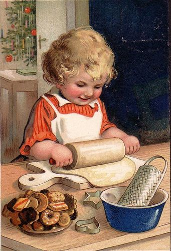 Vintage Christmas Postcard ~ Little girl rolling out Christmas cookies.
