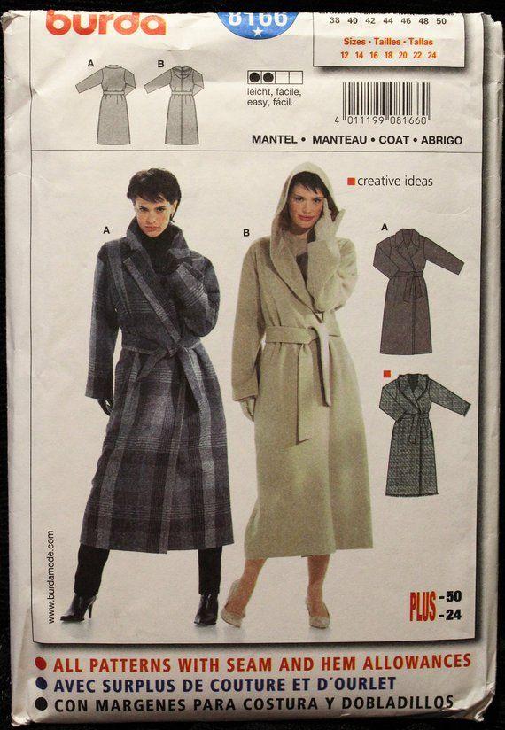 Winter Coat Woman Loose Fitting, Long Winter Coat Sewing Pattern