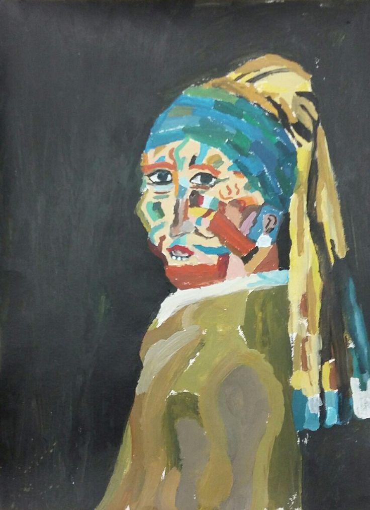 Meisje met de blauwe parel #picasso #vermeer #art