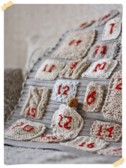 A knitted Advent Calendar - great to use up scraps and try out pieces!