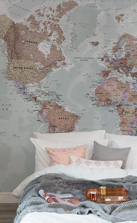Classic World Map Wallpaper Stylish Map Mural