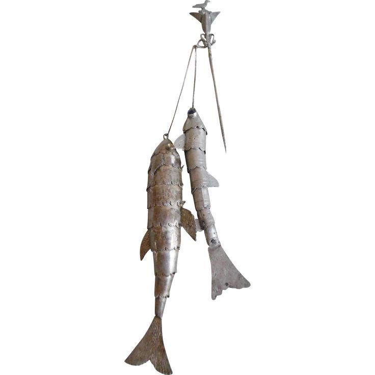 Antique Peruvian Sterling Tupo/Tupu Large Fish Cloak Fastener