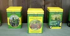 Nice John Deere Tractor Tin Locking Top Kitchen Canister Set-Country Home Decor