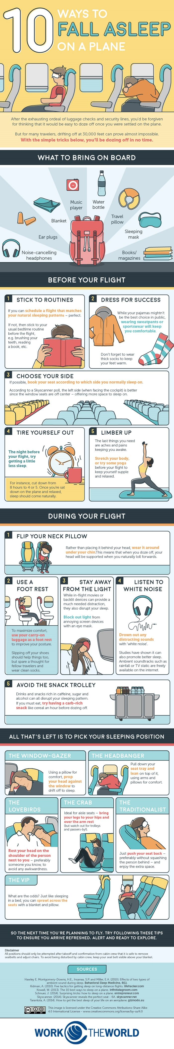 If you're taking a long haul flight trying to get some sleep is a good idea as it will leave you feeling more rested and may help you to avoid jet lag. The problem is that unless you can afford a first class or business class seat that offers flat beds, it can be difficult to get comfortable enough to rest. Due to this problem 'Work the World' has created this handy infographic that will show you how to fall asleep during your flight! Take a look!