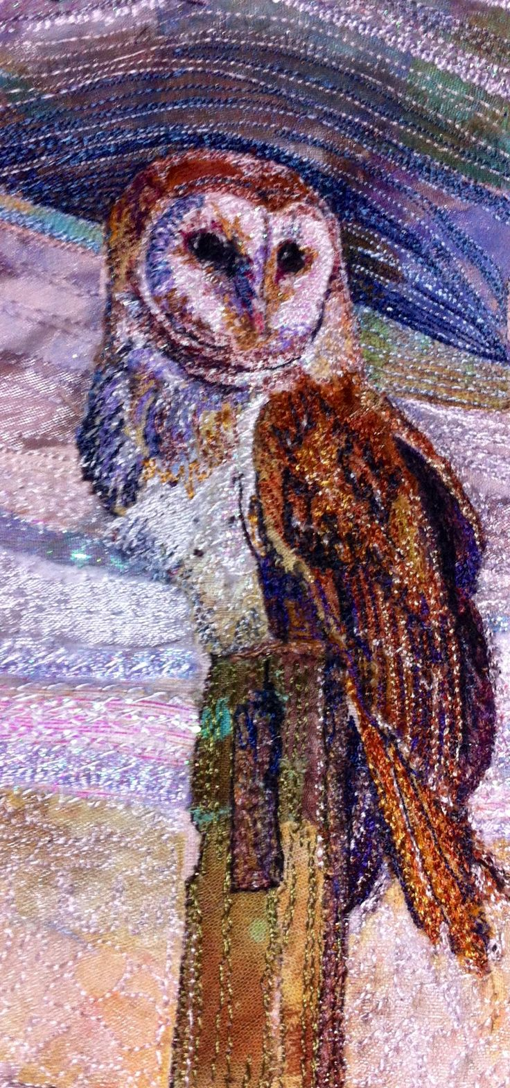 Waiting for supper. Machine embroidery by Rachel Wright. #barnowl #machineembroidery #textileart