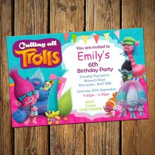 Trolls Personalised Party Invitations & Envelopes