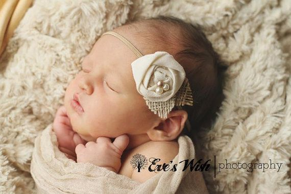 Vintage Linen and Burlap Headband, baby headbands, cream headbands, flower headbands, photography prop, rosette headbands, burlap headbands. $9.95, via Etsy.
