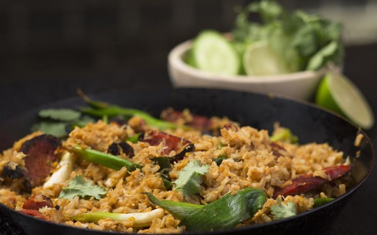 This recipe for fried rice, usually a good way of using up leftovers, has been   given a luxurious touch