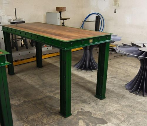 Green Firehouse bar table #vintageindustrial...