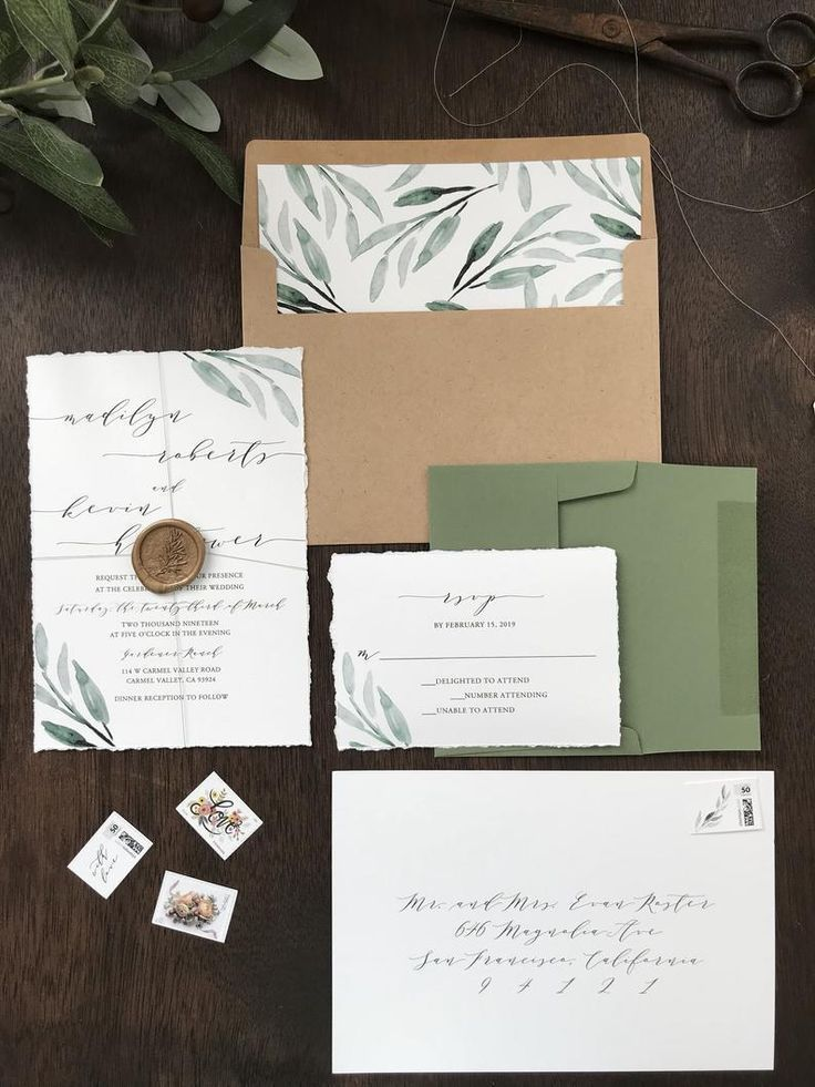 Deckled Edge Wedding Invitation Set With Greenery Wax Seal Etsy In 2020 Timeless Wedding Invitations Greenery Wedding Invitations Wedding Invitation Sets