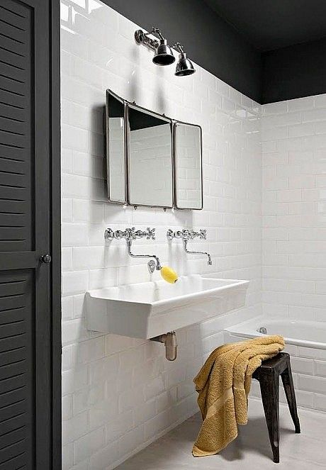 Wall mount faucets, sink, tile |  Ml-h design