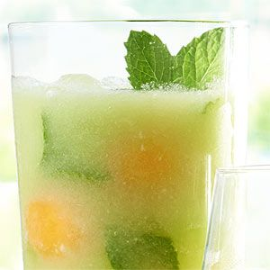 Melon and Mint Lemonade  A ripe honeydew melon will deliver the best flavor for this lemonade. Find one with an instense floral scent for the best result!