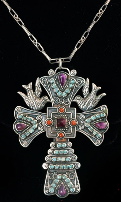 Big Matl style  Mexican Silver and Gems  Cross and Doves Necklace