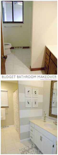 Budget bathroom renovation for under $200. Tons of ideas for how to update old bathrooms -- Like the white and gray striped walls!