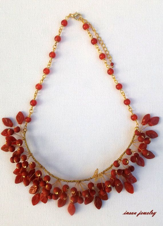 Berry necklace  Red necklace  Rowan berries  by insoujewelry