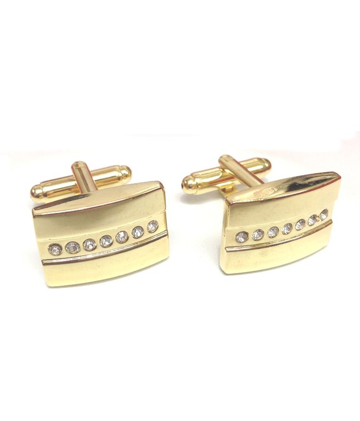 Kairos Designer Gold Plated Rectangular Rhinestone Cufflinks, http://www.snapdeal.com/product/kairos-designer-gold-plated-rectangular/518140952