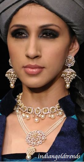 Latest Indian Gold and Diamond Jewellery Designs: Bridal Pearl Diamond Jewellery from Tanishq