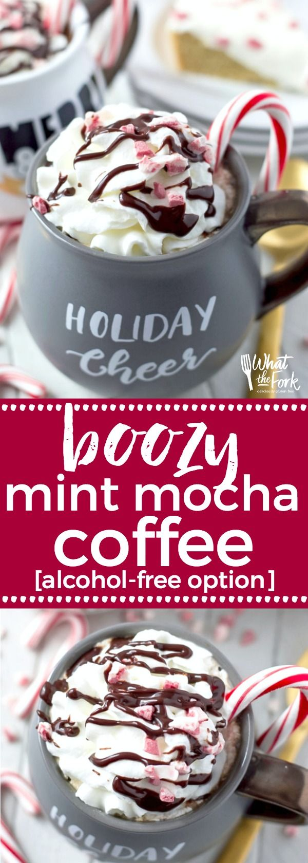 Mint Mocha Coffee recipe - a homemade coffee drink that looks more complicated than it is - it's super easy to make! Perfect for Christmas and cold weather drinking with an option to turn it into a cocktail. From @whattheforkblog | whattheforkfoodblog.com | Sponsored | coffee drinks | how to make a mocha at home | hot chocolate | hot cocoa | coffee cocktails | winter drinks | hot drinks | coffee with hot cocoa